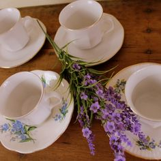 blue and white teacups floral vintage ceramic by Sweetlakevintage, $25.00