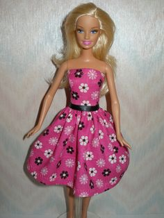 Handmade Barbie clothes  pink floral dress by TheDesigningRose, 5.00