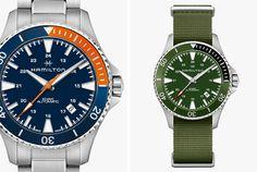 Hamilton-Khaki-Auto-Gear-Patrol-Lead-Full Hamilton Khaki Navy, Sporty Watch, Orange Highlights, Green Color Schemes, Team S, Watch Brands, Summer Vibes, Warm Weather, News