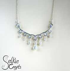 Silver & pearl loops necklace, bridal jewellery, wedding jewelry, statement necklace. Jewellery (jewelry) handmade in Scotland by Selkie Crafts.