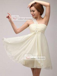 970835e3a64 Flower Ivory Bridesmaid Dress A-line Short One Shoulder Chiffon Bridesmaid  Dresses