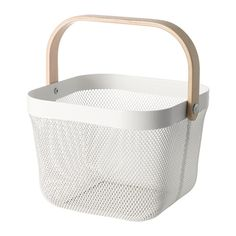 "RISATORP Wire basket IKEA, 9 3/4x10 1/4x7"", $12.99. Could hold a potted plant or fruit on a counter."