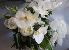 The Flower Magician: Butterfly Orchids & White Peony Wedding Bouquet
