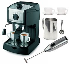 DeLonghi 15 BAR Pump Espresso and Cappuccino Maker with Coffee Measure, Milk Frother, Two 3 oz Ceramic Tiara Espresso Cups and Saucers, and Frothing Pitcher Espresso Machines Italian Espresso Machine, Home Espresso Machine, Espresso Machine Reviews, Automatic Espresso Machine, Espresso Drinks, Espresso Cups, Coffee Maker With Timer, Chicago Coffee Shops, Cappuccino Maker