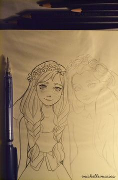 lumpalindaillustrations:  Drawing Elsa and Anna!!! Im so excited for this movie!!