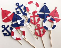 Nautical Themed Cupcake Toppers - Sailboats, Anchors & Life Preserver - Set of 12 - Navy and Red Nautical Banner, Nautical Party, Vintage Nautical, Sailor Theme, Themed Cupcakes, Deco Table, Baby Birthday, Birthday Decorations, Baby Boy Shower