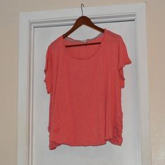 Eyeshadow T-shirt with Lace Embellishment! Size 2X Soft coral t-short with lace embellishment at both hips.  Size 2X Eyeshadow Tops Tees - Short Sleeve