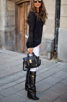 Oversized Black Sweater. White Jeans. Tall Black Boots.