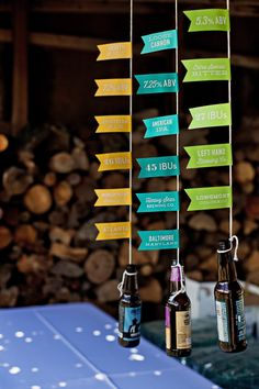 Craft beer display menu at a colorful backyard wedding; Ashley Pepitone for Juli Vaughn Designs; Display by Liddabits Design Shop