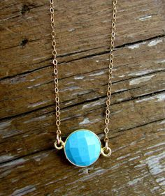 Turquoise Coin Necklace Turquoise Necklace by WanderandLustJewelry, $34.00