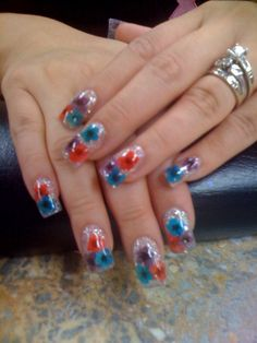 dried flowers nails designs - Google Search