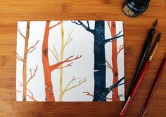 Little forest painting, in acrylic ink on paper. by TamaraGarvey.etsy.com