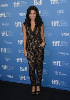 Vanessa Hudgens' was stunning in this lace jumpsuit while promoting Spring Breakers #VanessaHudgens #Style #Fashion