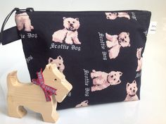 Scottie Dog Fabric Cosmetic Bag by sewmoira on Etsy