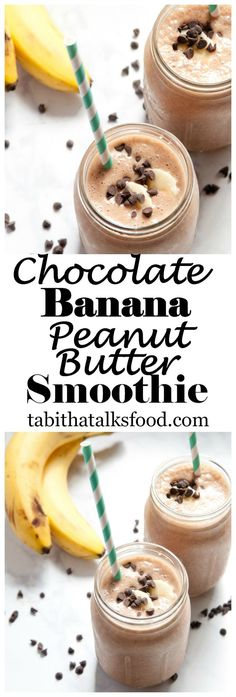 If you love banana, chocolate and peanut butter you'll love this smoothie! It's made with just 6 ingredients and takes just 5 minutes!