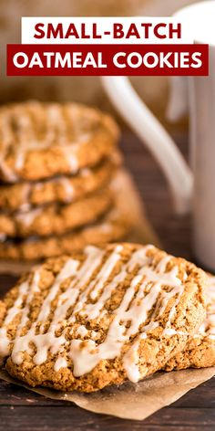 Single Serve Meals, Single Serving Recipes, Oatmeal Cookie Recipes, Oatmeal Cookies, Small Cookies Recipe, Small Batch Baking, Peanut Butter Oatmeal, Cookie Calories, Sweet And Spicy