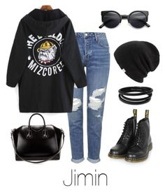 """""""Jimin Inspired w/ Dr. Martens"""" by btsoutfits ❤ liked on Polyvore featuring Topshop, Dr. Martens, Coal, Retrò, Givenchy and Swarovski"""