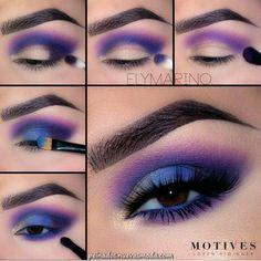 How fun is this blue and purple smokey eye from Elena Marino ? - Make up looks - Eye-Makeup Makeup Eye Looks, Eye Makeup Steps, Eye Makeup Art, Beautiful Eye Makeup, Cute Makeup, Smokey Eye Makeup, Makeup Inspo, Eyeshadow Makeup, Makeup Inspiration