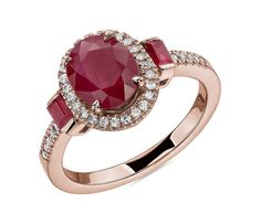 Oval and Baguette Ruby Ring in Rose Gold by Blue Nile Top Engagement Rings, Rose Gold Engagement Ring, Wedding Ring Designs, Wedding Rings, Rose Gold Top, Diamond Shop, Three Stone Rings, Blue Nile, Baguette