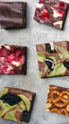 4 Ways Don't make basic brownies. Kick things way up with the help of cheesecake, matcha, pretzels and more!Don't make basic brownies. Kick things way up with the help of cheesecake, matcha, pretzels and more! Brownie Recipes, Cake Recipes, Dessert Recipes, Delicious Desserts, Yummy Food, Fancy Desserts, Baking Recipes, Baking Ideas, Food Videos