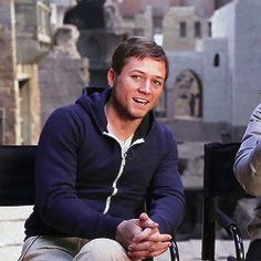 Taron Egerton on the set of Robin Hood: Origins in Budapest, Hungary for Hello Hollywood