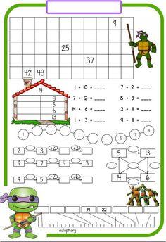 A petición de una de nuestras seguidoras que afirma utilizar estas fichas con éxito en el aula, comparto esta versión de las Tortugas Ninja y
