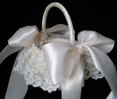 BOUGHT!! Ivory Alencon Lace Flower Girl Basket by simplybridal1 on Etsy