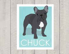 Black French Bulldog Art Print  Custom Dog Art  by HappyTailPrints, $15.00