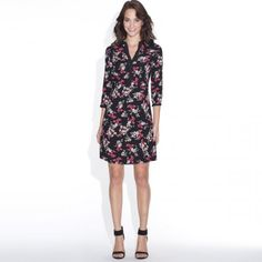 Printed Shirt-Dress, Length Sleeves and Smocked Waist Floral print on black backgrou Camisa Formal, French Fashion, Fashion Online, Ideias Fashion, Floral Prints, Women Wear, Girly, Dresses For Work, Shirt Dress