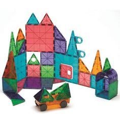 Magna-Tiles® Clear Colors 48-Piece Deluxe Set lets you build buildings and cars with magnets.