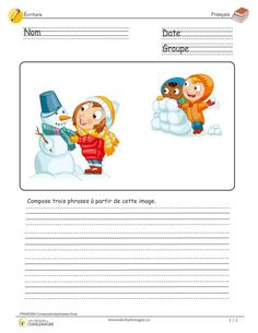 Compose three sentences - winter - Treasures of Charlemagne French Teacher, French Class, Teaching French, Teaching Writing, Speech Therapy Activities, Educational Activities, French Resources, Future Jobs, French Immersion