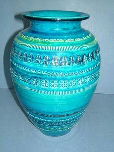 1950s Aldo Londi Bitossi Blue Vase Made in Italy