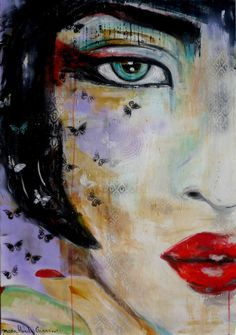 "Saatchi Art Artist: Marie-Blanche Giannorsi; Acrylic 2015 Painting ""Mme Butterfly"""