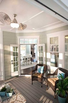 This is the screened porch to Architectural Designs House Plan 30083RT. The home gives you 3 (or 4) beds, has an open concept floor plan), and gives you over 3,000 sq. ft. of living inside plus a bonus room over the garage.  Ready when you are. Where do YOU want to build?Family Room