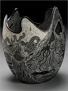 Tim Christensen – fine drawings on porcelain pottery