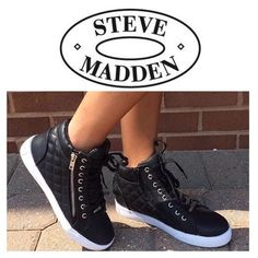 """STEVE MADDEN DECAF QUILTED SNEAKER Do you need some sneakers that show some serious attitude? Man-made vegan leather and feature quilted sides, zipper detailing for easy slip on and off. Silver hardware, faux outside zipper, lace up vamp, padded tongue and cushioned sole. Wear them with an oversize tank and Moto leggings for that streetsmart styling. Measurements; platform eight 1.5"""" shaft height 5.5"""" fits true to size Steve Madden Shoes Sneakers"""