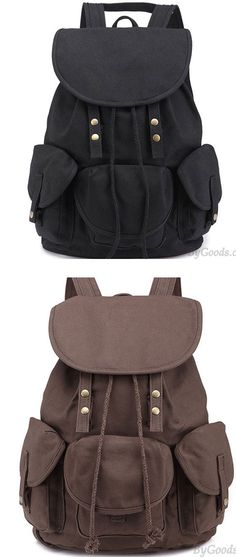 8c53f8527cad Leisure Three Pockets High School Bag Student Travel Canvas Backpack for  big sale!  backpack