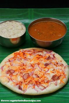 Onion uttapam is a South Indian breakfast item made with idli batter, topped with onion and roasted well. It is served with chutney and sambar.