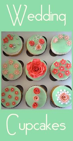 Wedding Cupcakes- great tutorials here ~ cute cupcakes that are same color but have different designs!!
