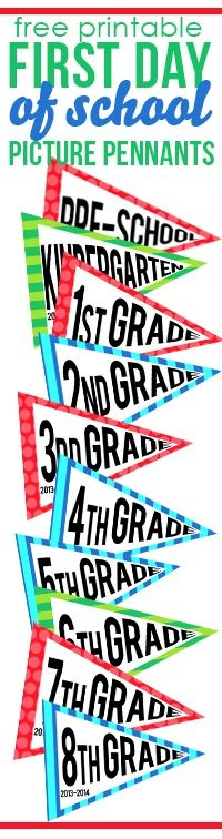 Use these free printable pennants on the first day of school!  Have your kiddo hold up their grade level pennant and snap a few pictures. A perfect way to always remember what grade they are going into for the upcoming school year. Now available: Preschool-12th grade!