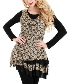 Look what I found on #zulily! Black & Beige Geometric Sleeveless Tunic by Lily #zulilyfinds