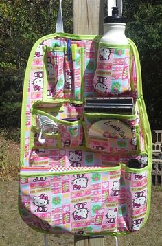 Adolescent Teenager Style Car Organizer Pink Kitty Trimmed in Lime Green on Etsy, $45.00