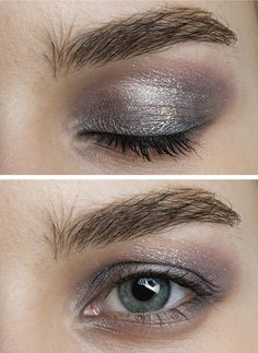 This subtle lavender and silver eye would go great with fall's berry lips. #beauty #makeup
