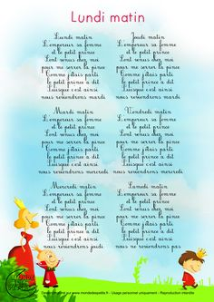 Paroles_Monday morning, the emperor, his wife and the little prince French Language Lessons, French Language Learning, French Lessons, French Poems, French Nursery, Material Didático, French Kids, French Education, Kids Poems