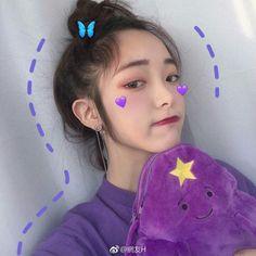 Korean Aesthetic, Purple Aesthetic, Aesthetic Girl, Ulzzang Korean Girl, Cute Korean Girl, Asian Girl, Ullzang Girls, Cute Girls, Moda Ulzzang