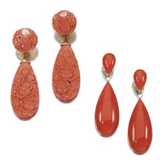 TWO PAIRS OF CORAL EARRINGS | Lot | Sotheby's