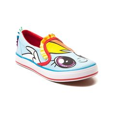 Pony up for the new Rainbow Dash Sneaker from My Little Pony! The Rainbow Dash Shoe features canvas uppers with Rainbow Dash graphics, contrasting trim, and rainbow ribbon loop accents. The durable rubber outsole delivers slip-resisting traction so you can play hard, and look good doing so!