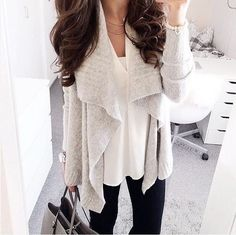 Love the cardigan blouse look, very clean in light colors