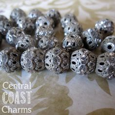 Vintage Shabby Style ~ 12mm Aged Silver Patina Rhinestone Filigree Rondelle Beads - Central Coast Charms
