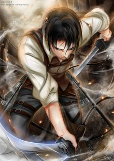 His face looks weird, especially the crooked, nose, but the rest of the art is beautiful and detailed | Levi | ACWNR | SNK